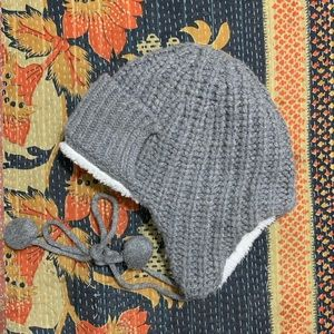 J Crew Sherpa Lined Knit Trapper Hat Wool Cashmere